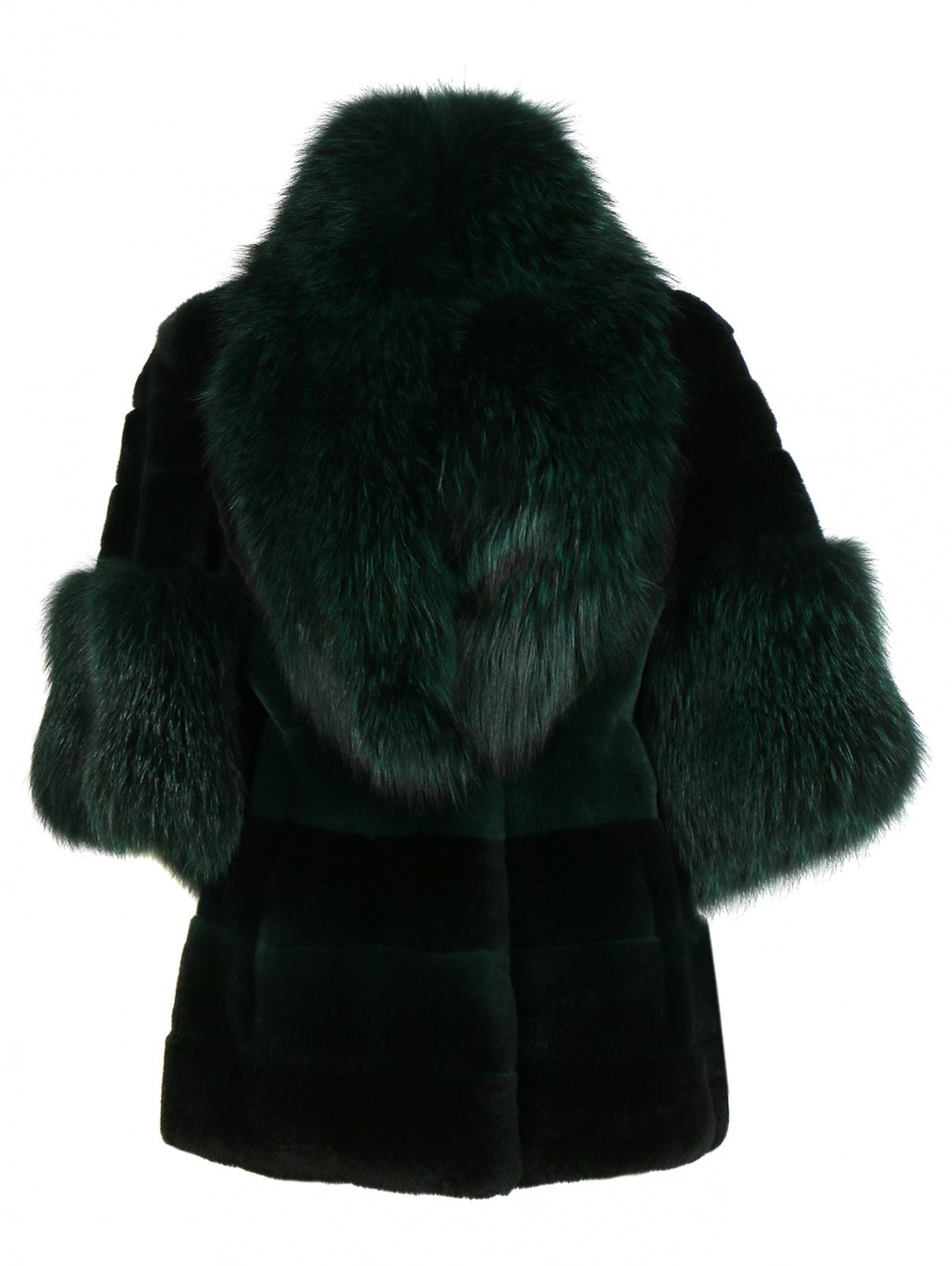 Шуба из меха кролика Versace Collection  –  Общий вид  – Цвет:  Зеленый