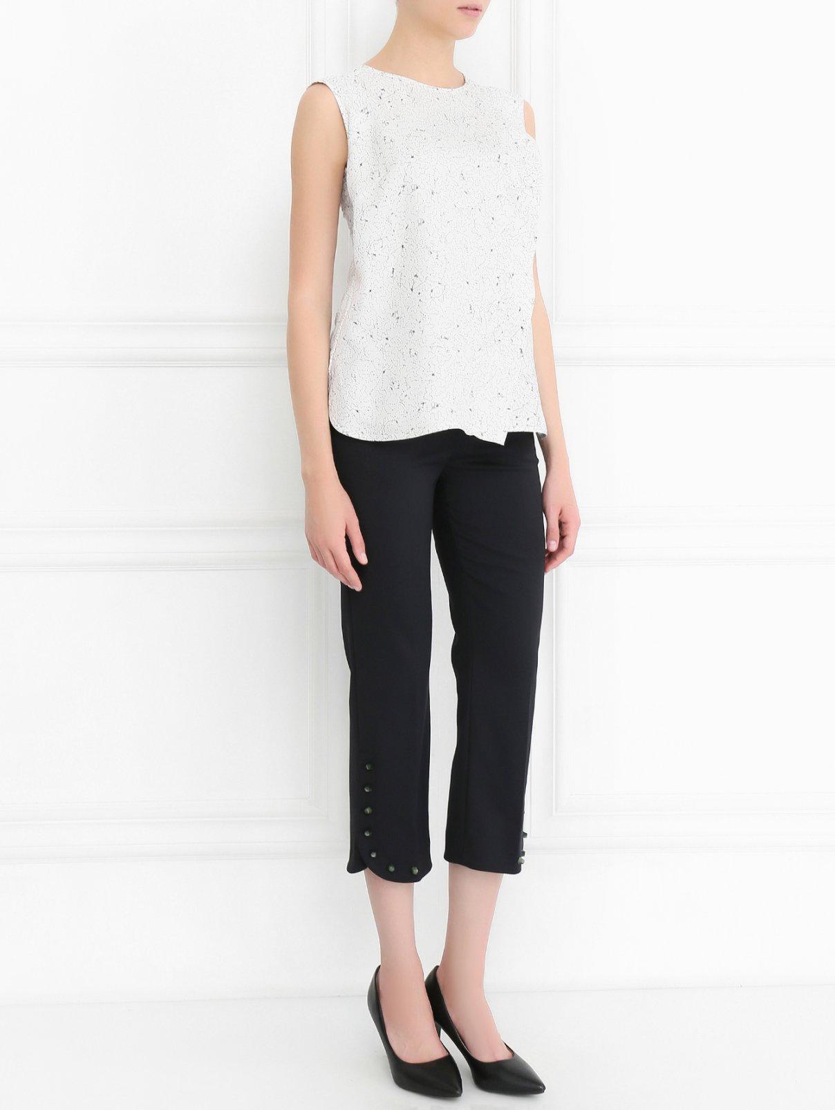 Укороченные брюки прямого кроя с контрастным декором Sportmax  –  Модель Общий вид  – Цвет:  Черный