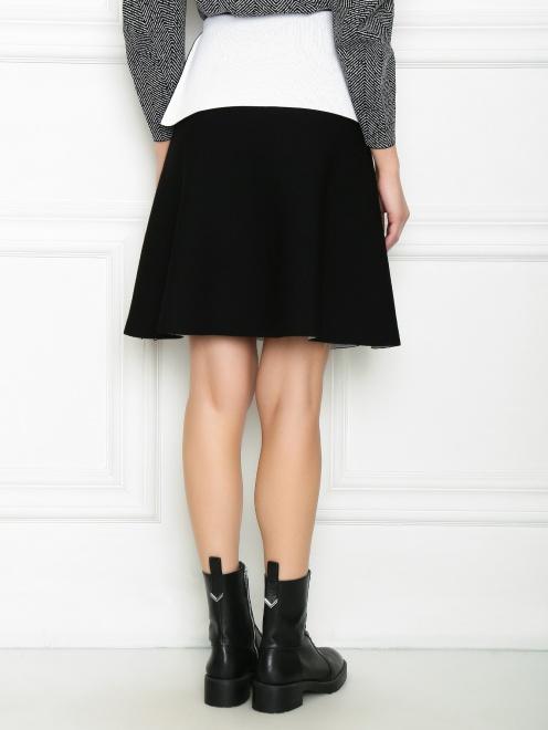 Трикотажная юбка с контрастной баской и молнией  - МодельВерхНиз1