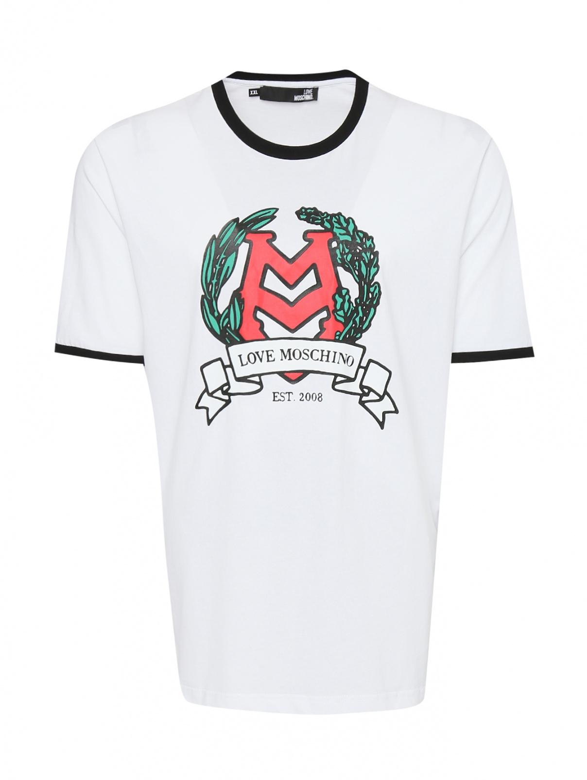 Футболка из хлопка с принтом Love Moschino  –  Общий вид  – Цвет:  Белый