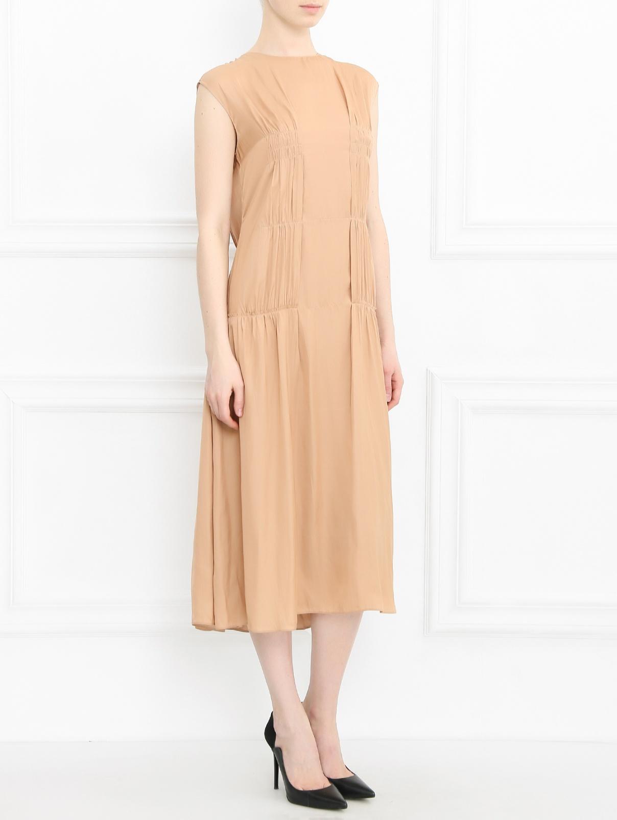 Платье-миди без рукавов Cedric Charlier  –  Модель Общий вид  – Цвет:  Бежевый
