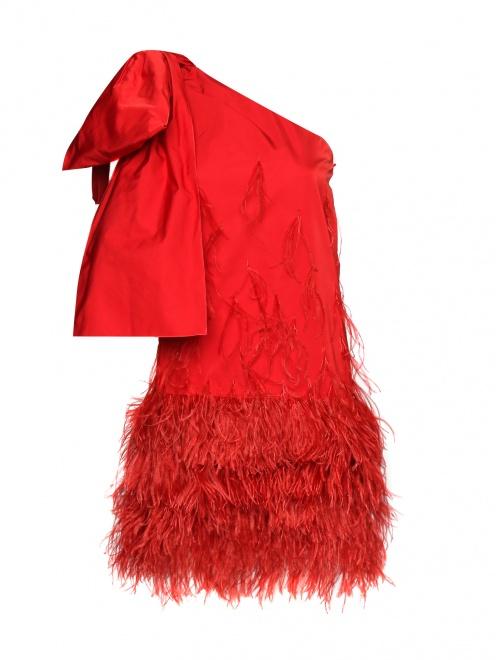 Платье-мини декорированное перьями - Общий вид