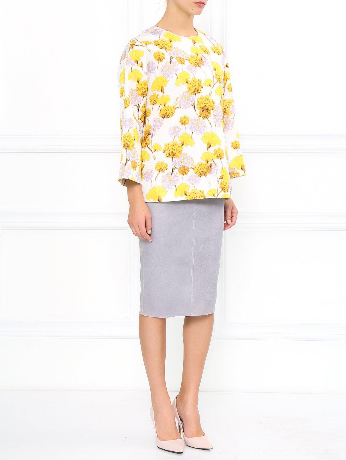 Шелковая блуза с абстрактным принтом Giambattista Valli  –  Модель Общий вид  – Цвет:  Белый