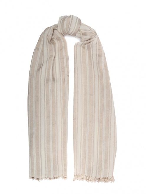 Шарф из вискозы и хлопка в полоску - Общий вид