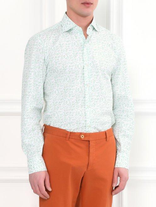 Рубашка из хлопка с цветочным узором - Модель Верх-Низ