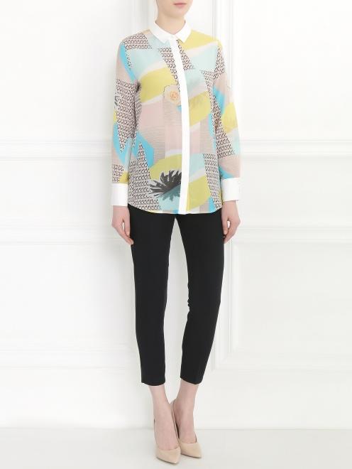 Блуза из хлопка и шелка с узором и контрастной отделкой - Общий вид