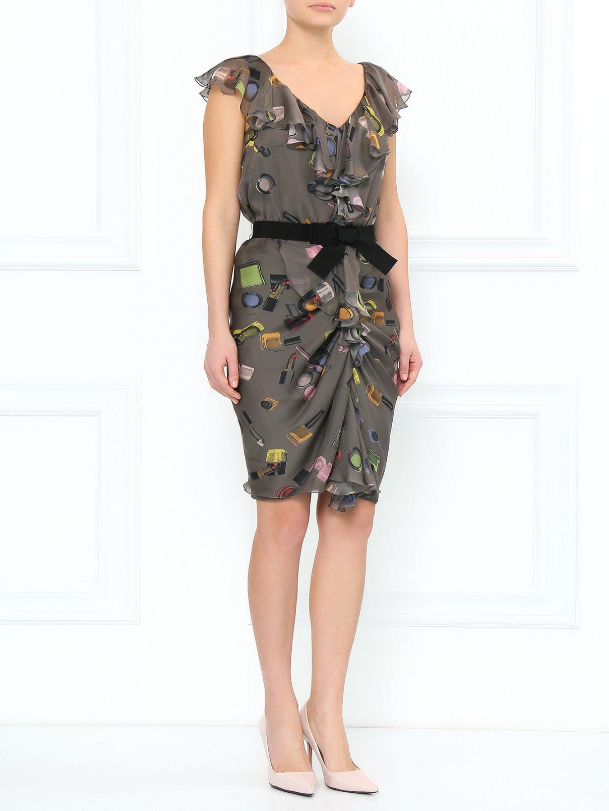 Платье из шелка с драпировкой и декорированным поясом Moschino Cheap&Chic  –  Модель Общий вид