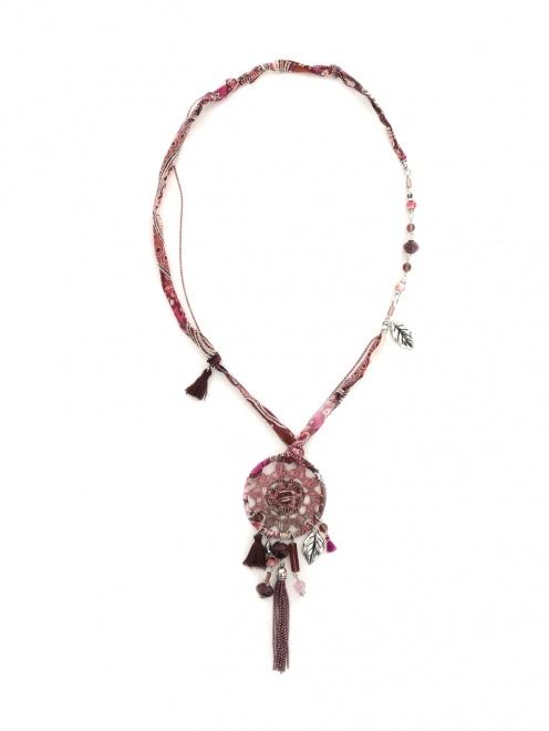 """Ожерелье из бусин и шелка с узором """"пейсли"""" - Общий вид"""