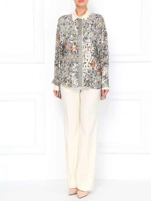 Шелковая блуза с принтом декорированная  пайетками  - Модель Общий вид