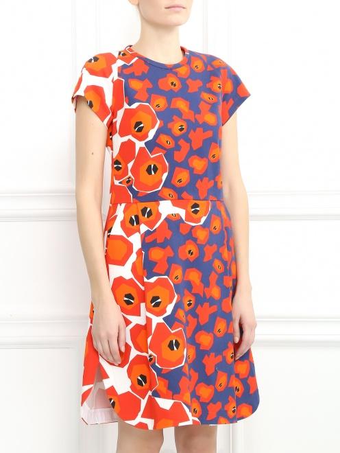 Платье из хлопка с цветочным узором - Модель Верх-Низ