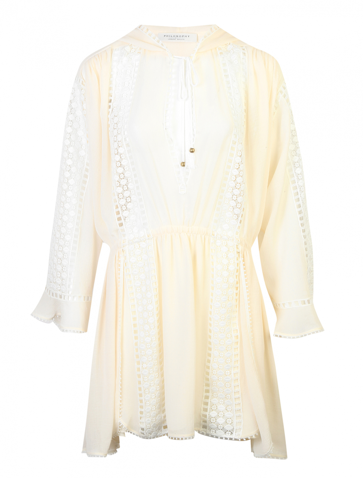 Платье с кружевной отделкой и капюшоном Philosophy Di Lorenzo Serafini  –  Общий вид