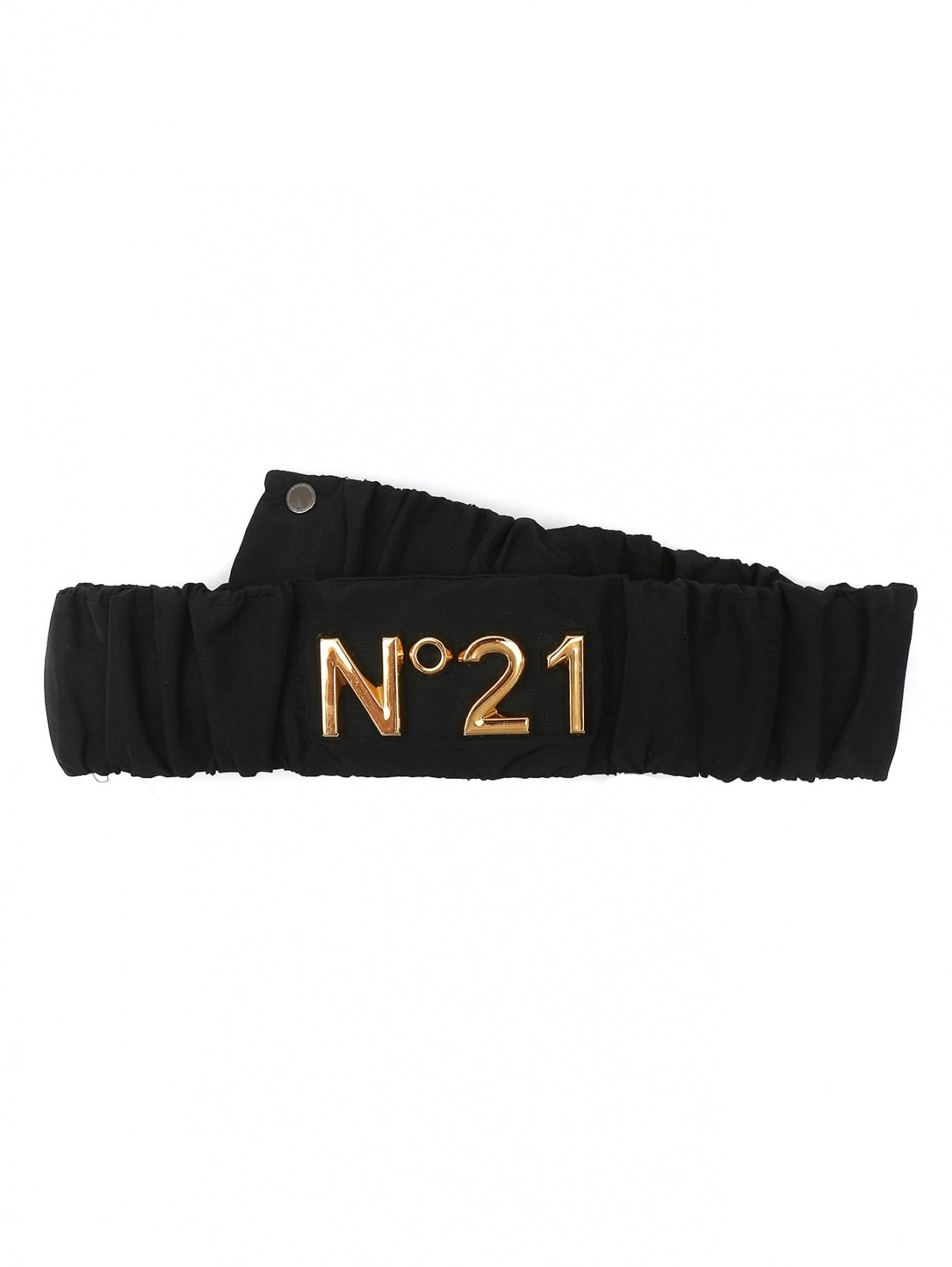 Ремень из текстиля с логотипом N21  –  Общий вид  – Цвет:  Черный