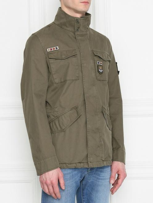 Куртка из хлопка с нашивками - МодельВерхНиз