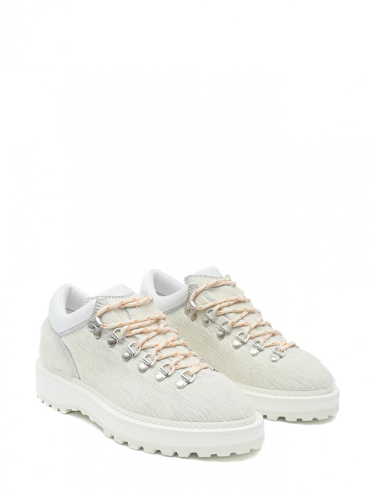 Ботинки из кожи на шнуровке Diemme  –  Общий вид  – Цвет:  Белый