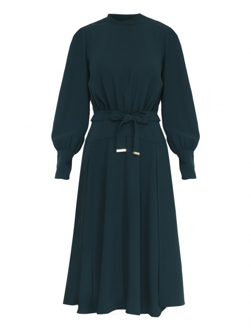 Платье-миди со сборкой на талии - Общий вид