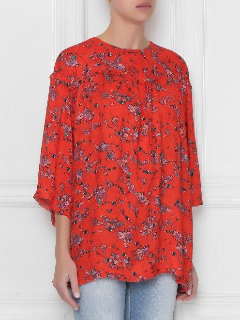 Блуза свободного кроя с узором - МодельВерхНиз