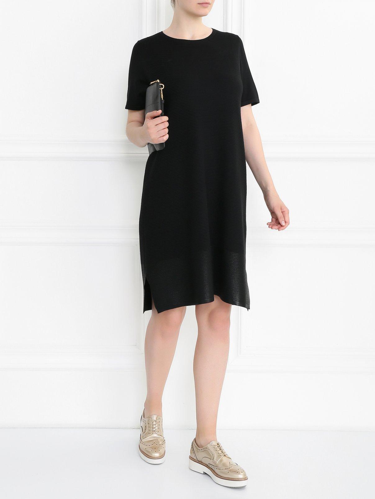 Трикотажное платье с коротким рукавом Marina Sport  –  Модель Общий вид  – Цвет:  Черный