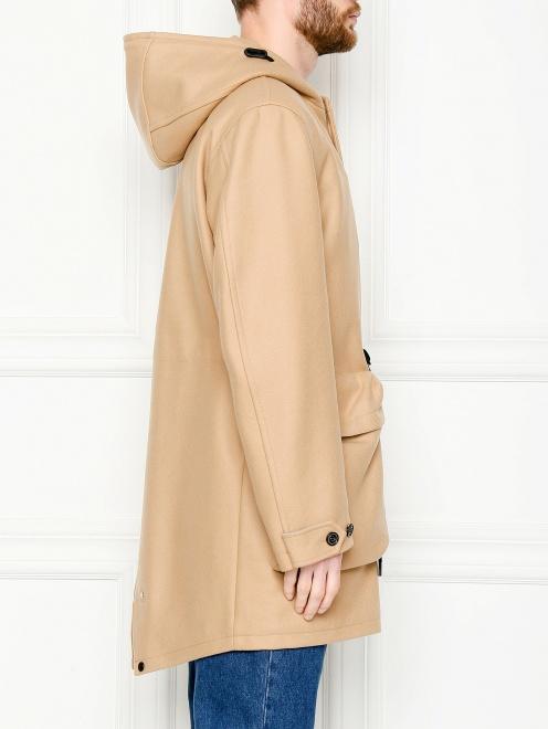 Пальто из смешанной шерсти с капюшоном и карманами  - МодельВерхНиз2