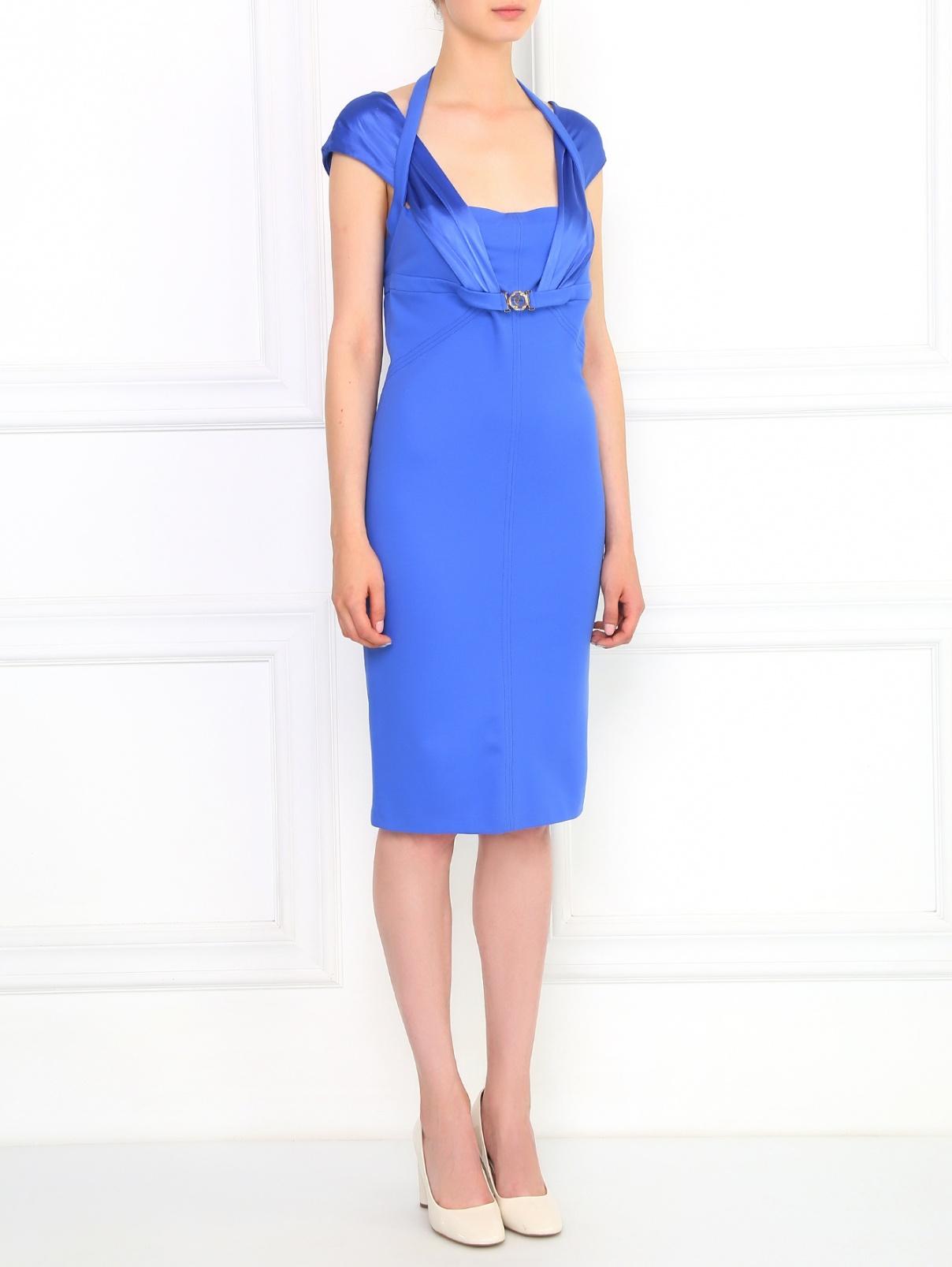 Трикотажное платье-мини на широких бретелях Versace Collection  –  Модель Общий вид  – Цвет:  Синий