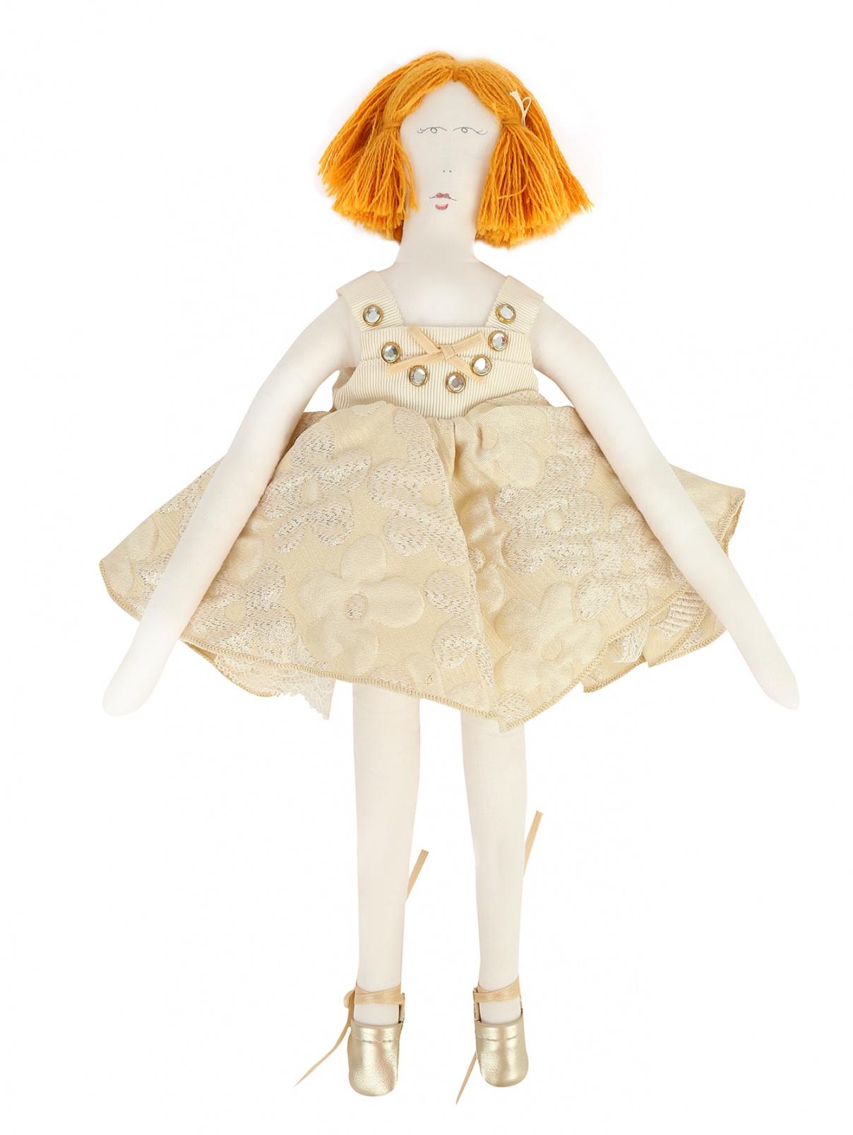 Кукла-тильда в платье из жаккарда MiMiSol  –  Общий вид  – Цвет:  Золотой