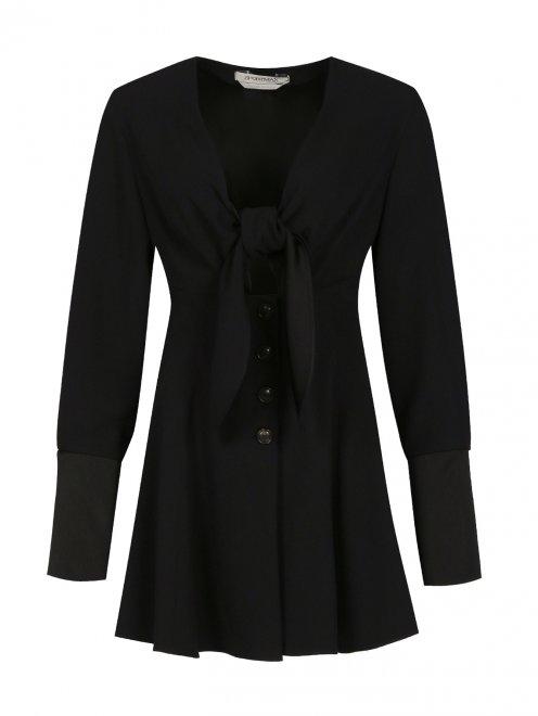 Блуза с длинными рукавами и драпировкой - Общий вид