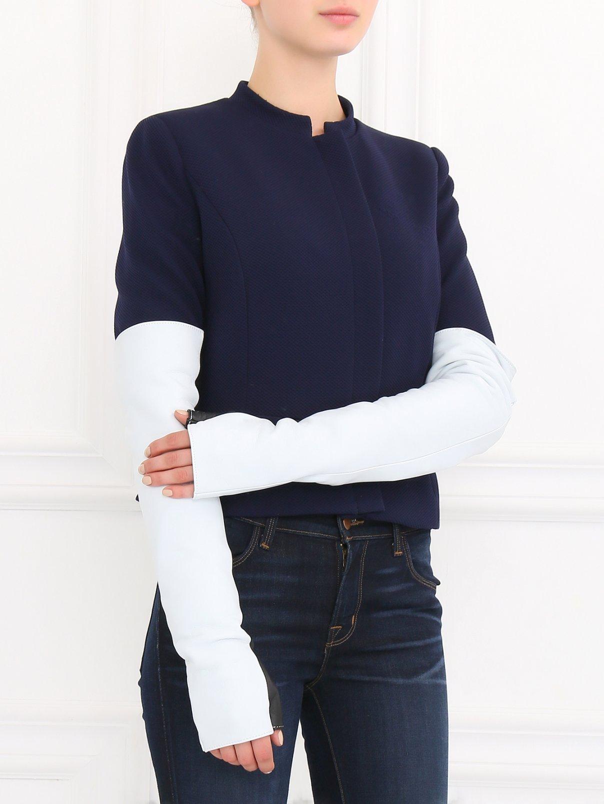 Длинные перчатки из кожи Jil Sander  –  Модель Общий вид  – Цвет:  Зеленый