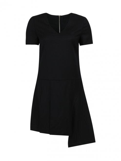 Платье-мини из шерсти с декоративной молнией  - Общий вид
