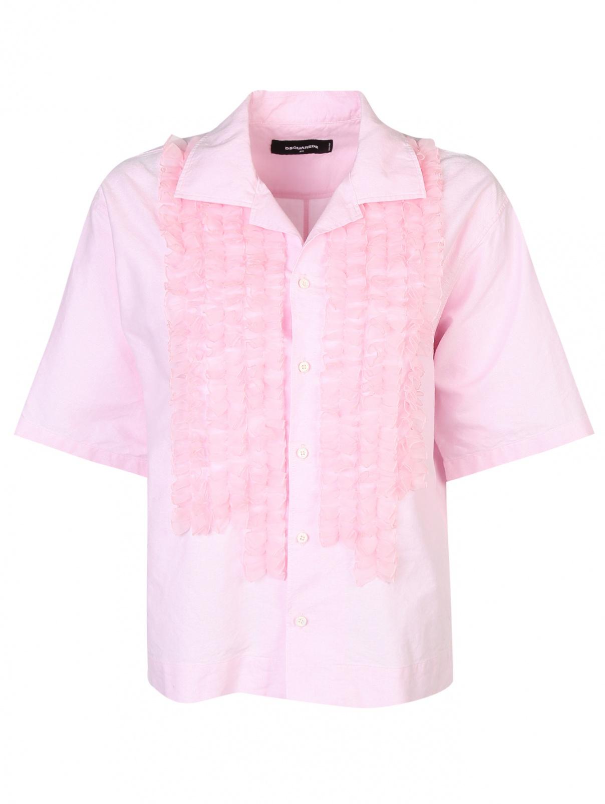 Блуза из хлопка с воротником жабо Dsquared2  –  Общий вид  – Цвет:  Розовый