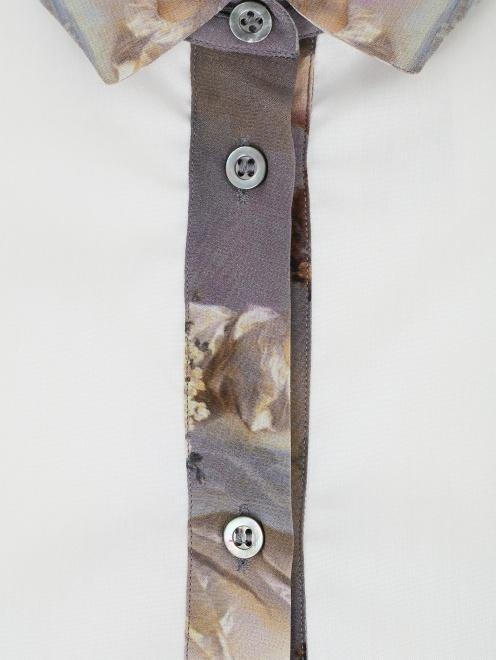 Рубашка из хлопка с контрастной вставкой  - Деталь
