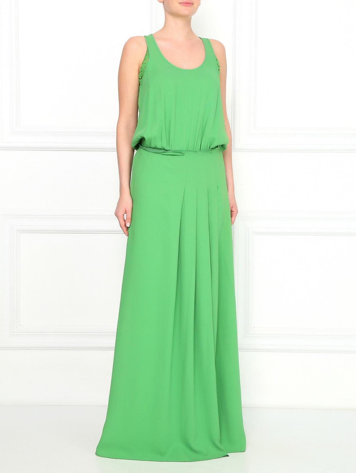 Платье-макси с вставками из кружева N21  –  Модель Общий вид  – Цвет:  Зеленый