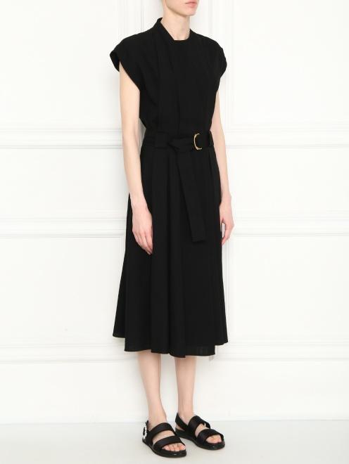 Платье-миди с поясом  - МодельВерхНиз