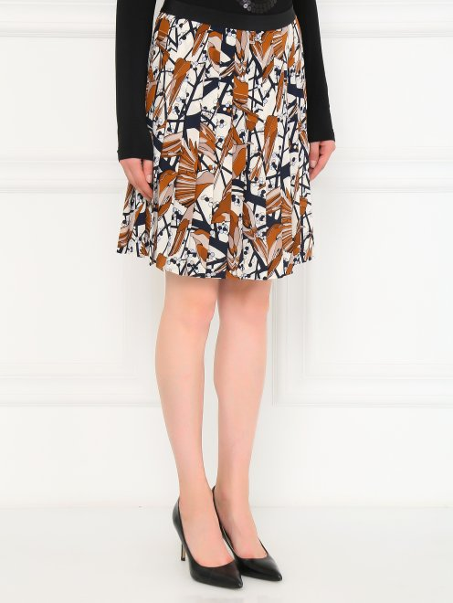 Юбка-мини из шелка с цветочным узором  - Модель Верх-Низ