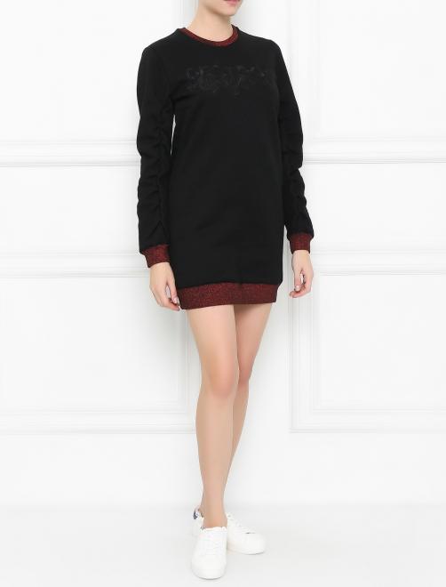 Платье из хлопка с вышивкой - Общий вид