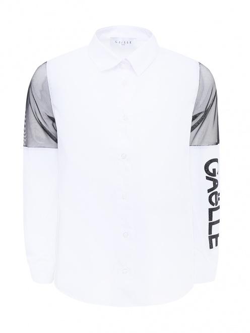 Рубашка хлопковая с вставками из сетки - Общий вид