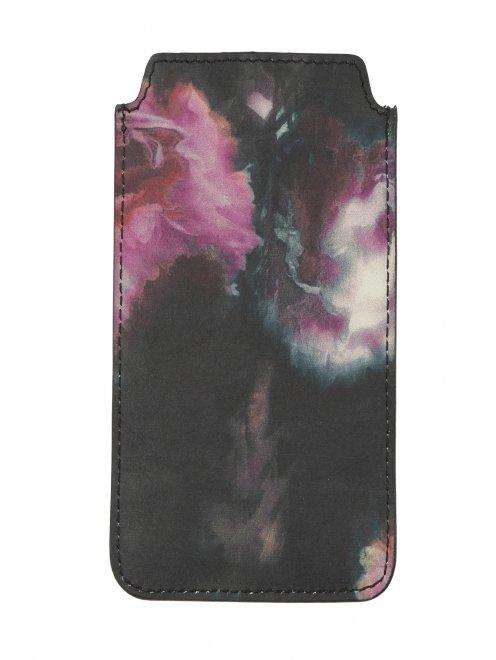 Чехол для IPhone 4 из кожи с цветочным узором - Общий вид