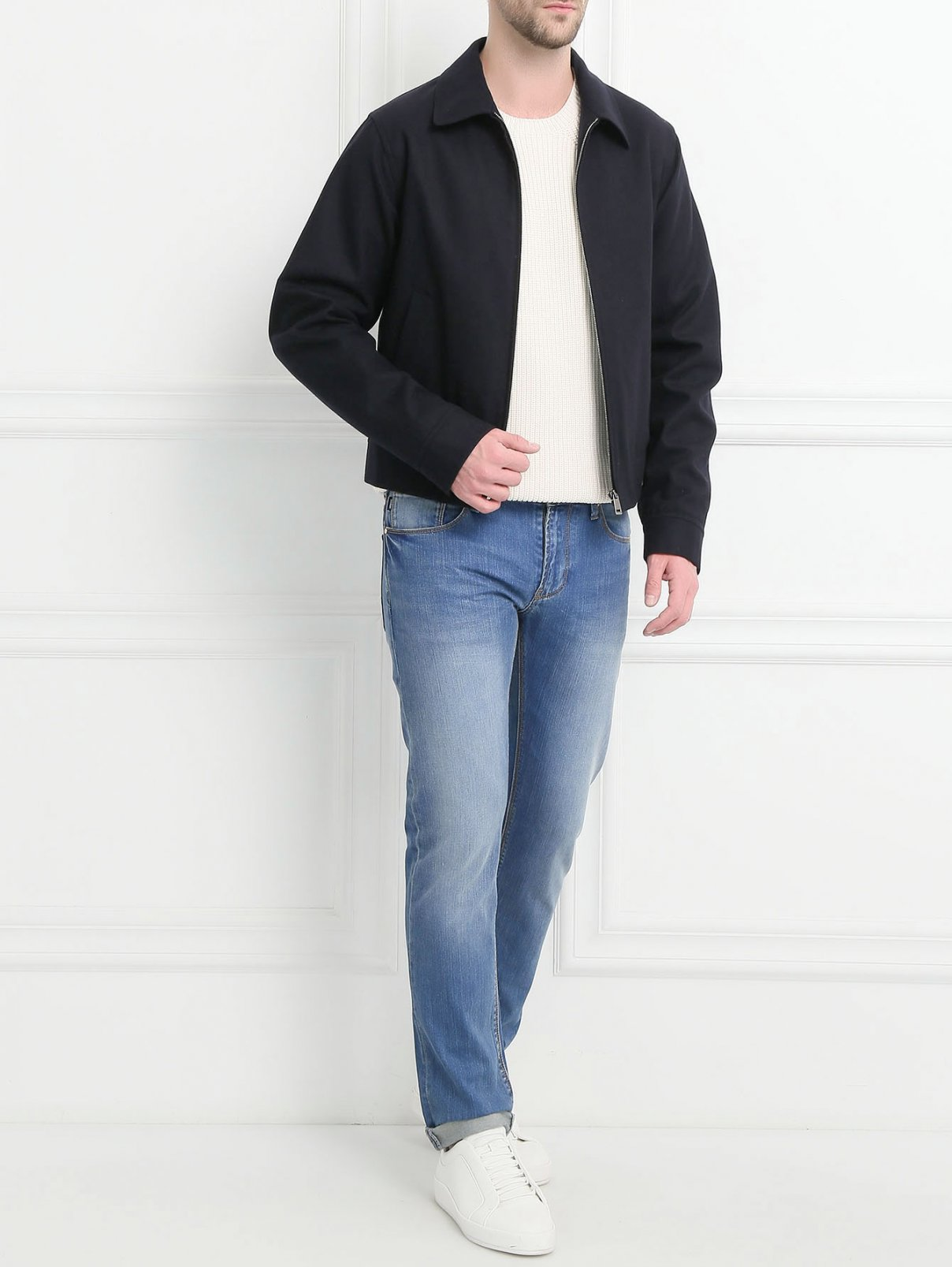 Куртка из шерсти на молнии Jil Sander  –  Модель Общий вид  – Цвет:  Синий