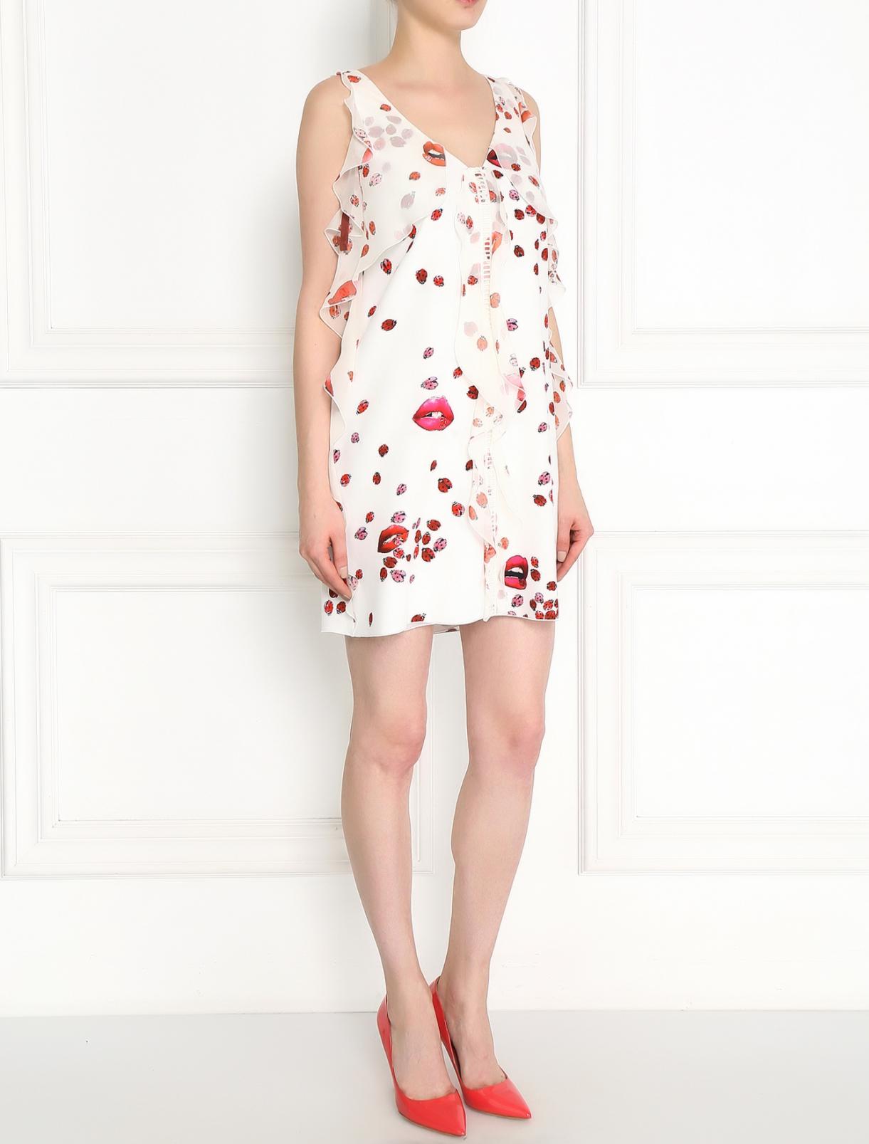 Платье-мини с узором и воланами Giamba  –  Модель Общий вид