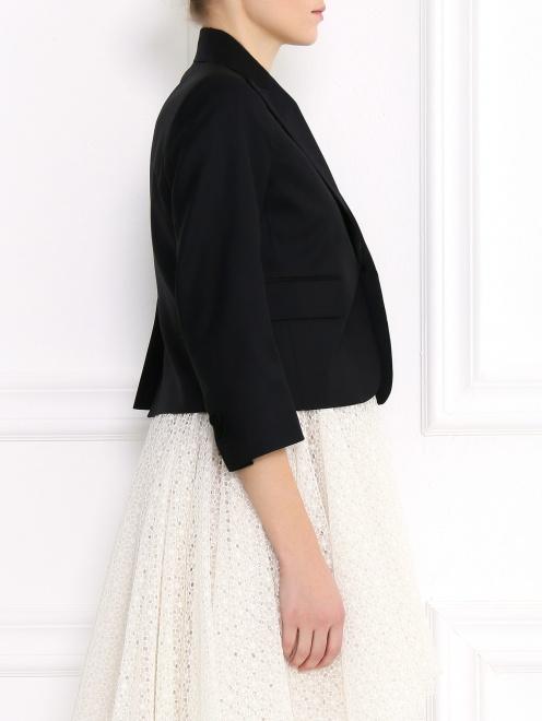 Жакет из шерсти и шелка с отложным воротником - Модель Верх-Низ2