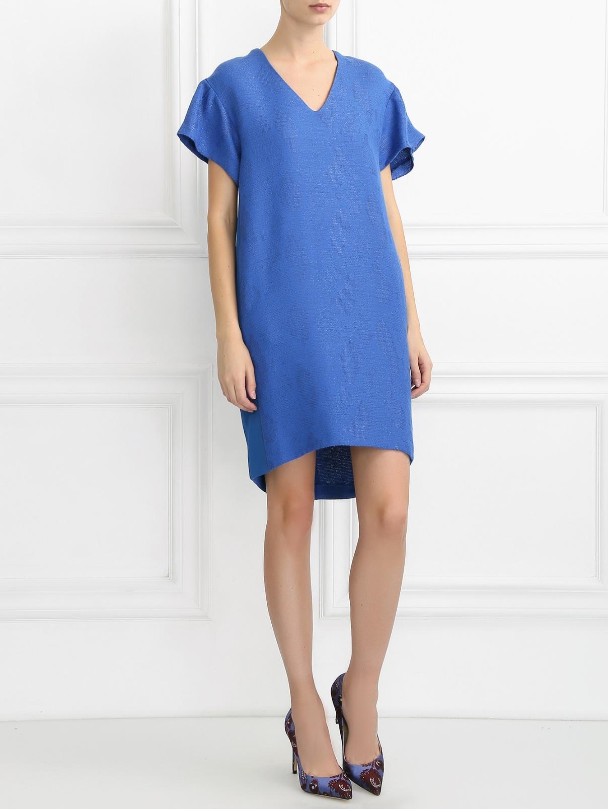 Платье-мини с боковыми карманами nude  –  Модель Общий вид  – Цвет:  Синий