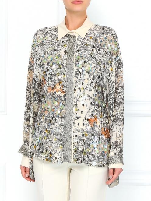 Шелковая блуза с принтом декорированная  пайетками  - Модель Верх-Низ