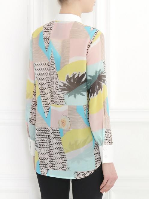 Блуза из хлопка и шелка с узором и контрастной отделкой - Модель Верх-Низ1
