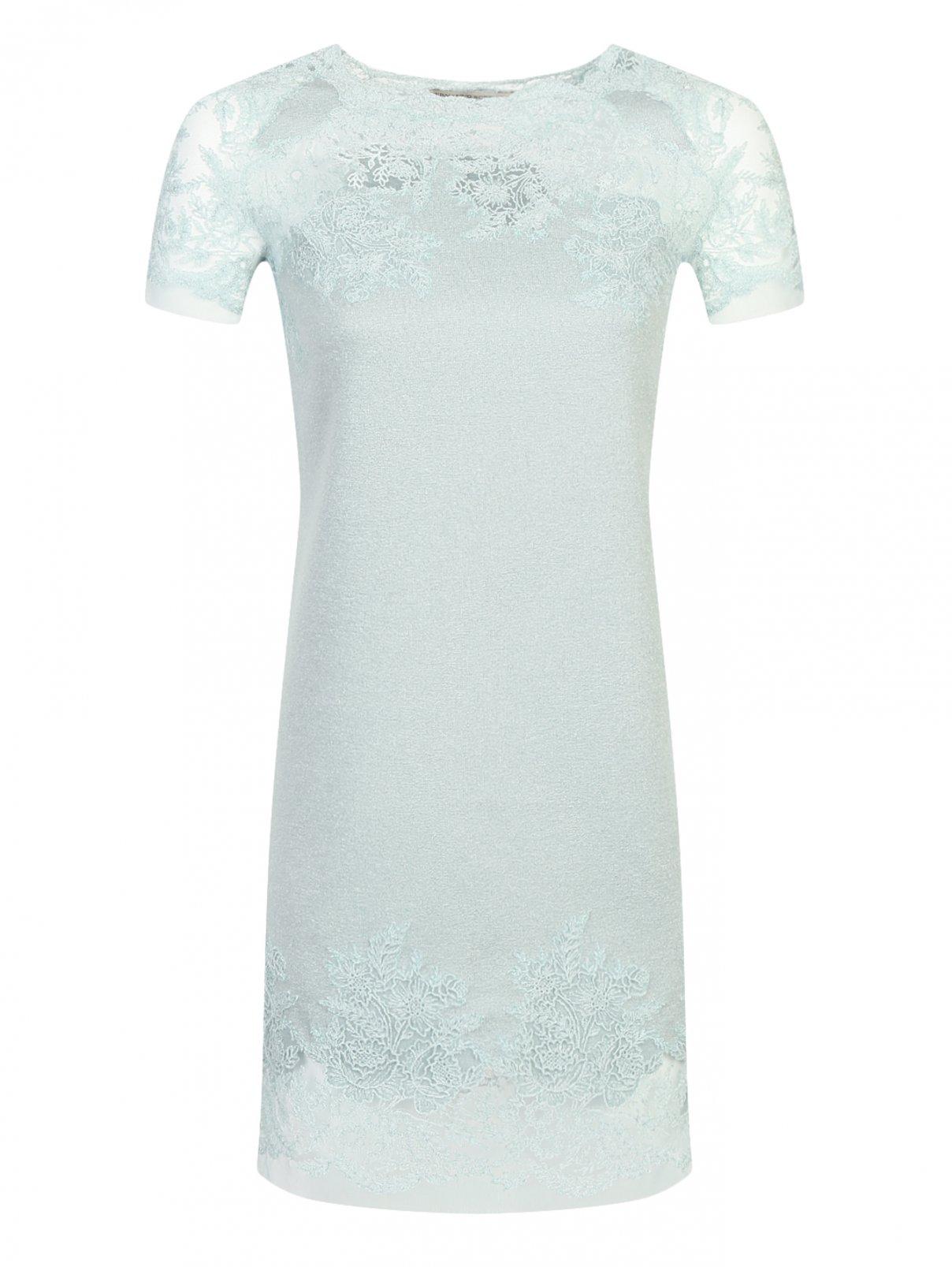 Платье из шерсти и шелка с кружевной отделкой Ermanno Scervino  –  Общий вид