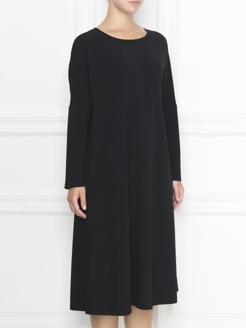 Платье-футляр с длинными рукавами - МодельВерхНиз