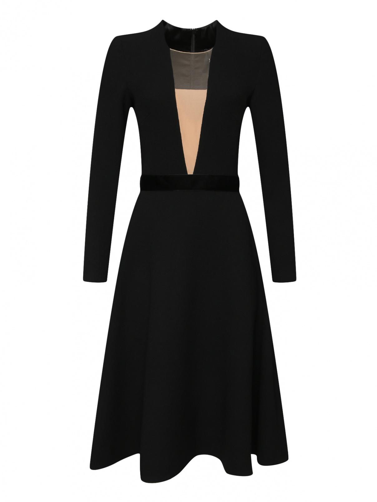 Платье из шерсти под пояс Yanina  –  Общий вид  – Цвет:  Черный
