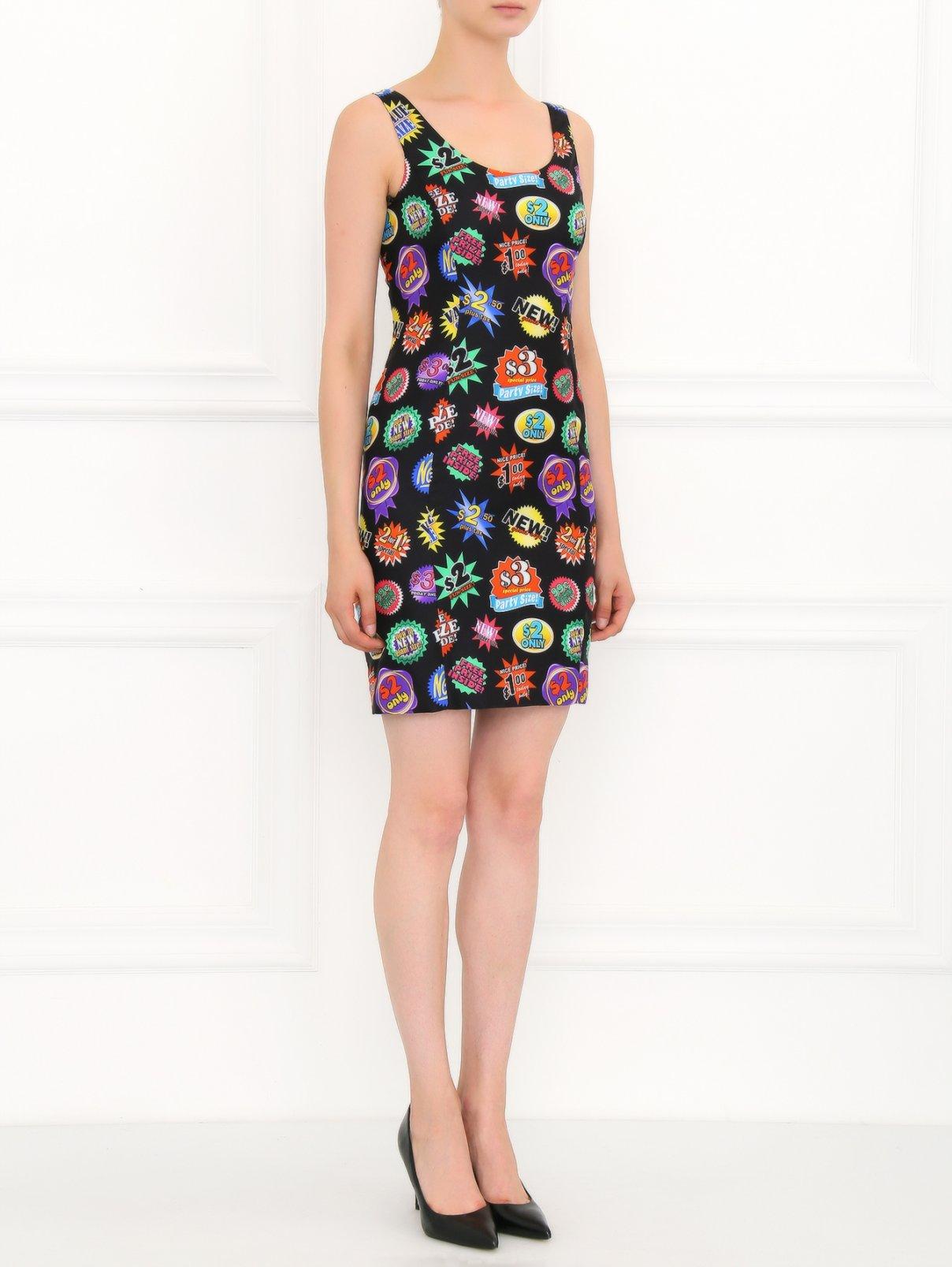Платье из шелка с узором Moschino  –  Модель Общий вид  – Цвет:  Узор