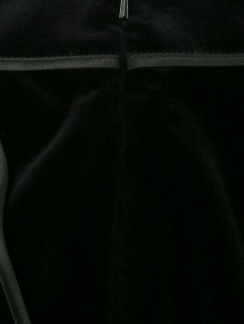 Юбка-мини из бархата с карманами - Деталь1
