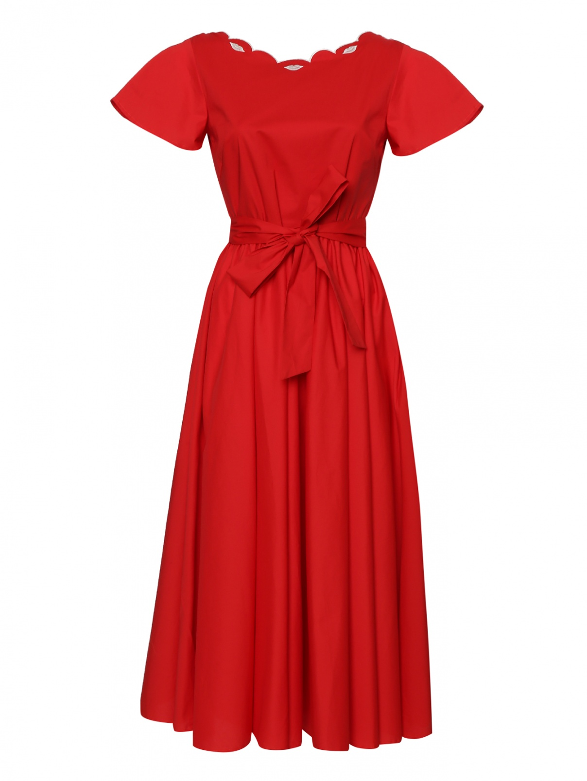 Платье из хлопка с расклешенной юбкой и вышивкой Vivetta  –  Общий вид