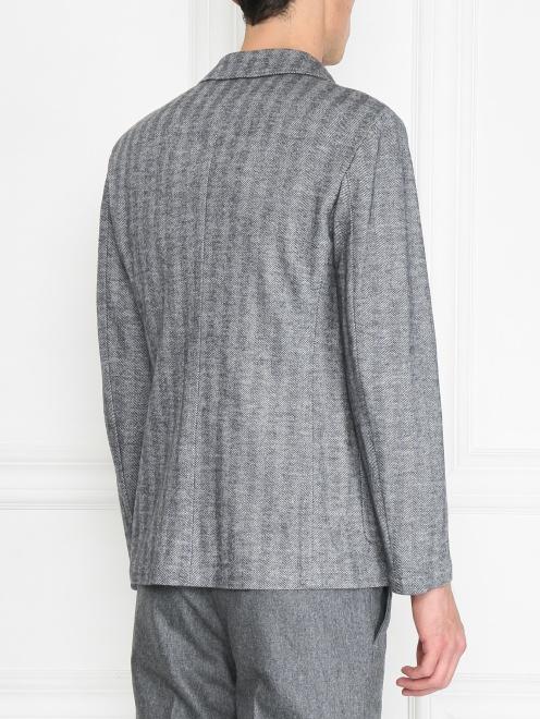 Пиджак однобортный из хлопка и шерсти  - МодельВерхНиз1
