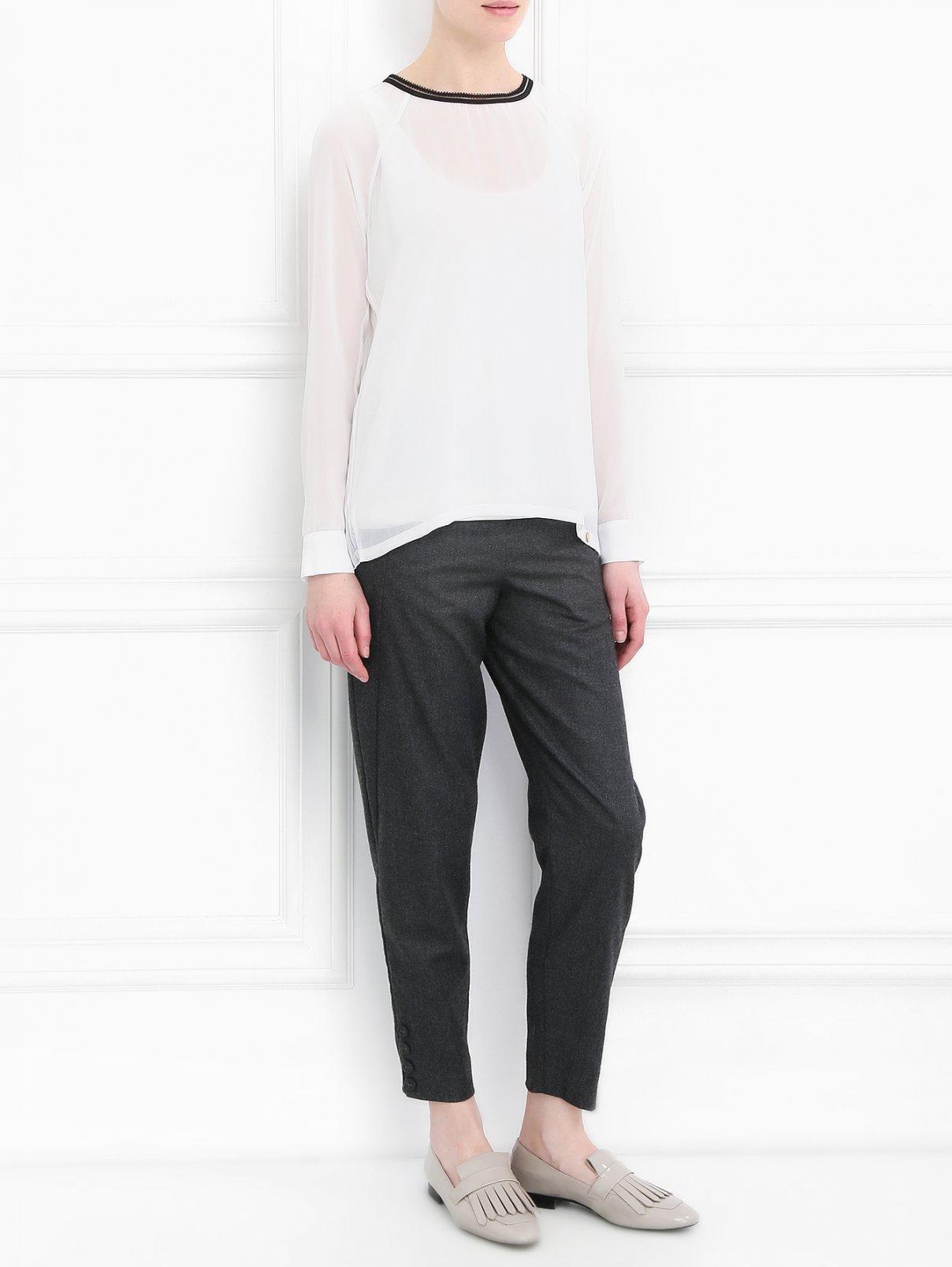 Блуза с плиссированной вставкой Rich & Royal  –  Модель Общий вид  – Цвет:  Белый