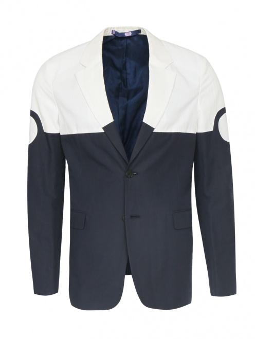 Однобортный пиджак из хлопка и льна - Общий вид